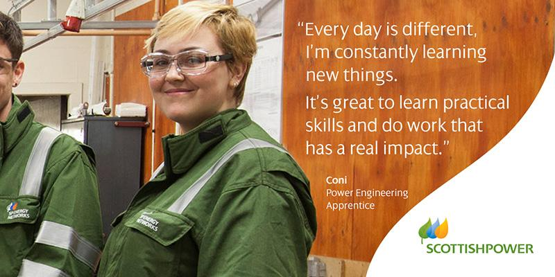 "Quote from Coni, Power Engineering Apprentice: ""Every day is different. I'm constantly learning new things. It's great to learn practical skills and do work that has a real impact."""